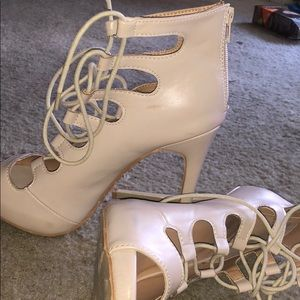 Fashion Nova Nude Lace Up Heels